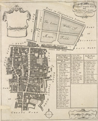 Coleman Street ward and Bashishaw [sic] ward taken form the last survey, with corrections and additions (1720)